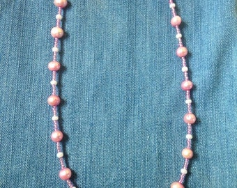 Pink Pearly Beaded Short Necklace Handmade Free Shipping