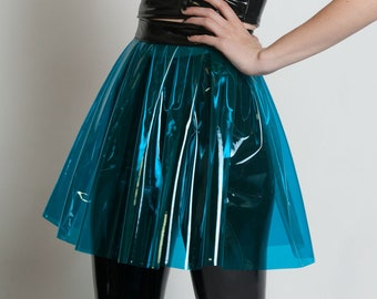 037bae43882427 LOUD and CLEAR - Blue Plastic Mini Skirt PVC Pleated Vinyl Lolita Cybergoth  Cyberpunk Futuristic Clubwear Rave Cyber Festival Burning Man