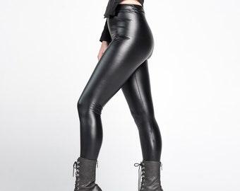 c5de8482 CORONA LEGGINGS - PVC Vinyl Vegan Leather Black Futuristic Cyber edm Rave  Rubber Goth Industrial Wet Look Pants Streetwear Latex Matte Punk