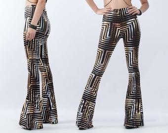 56700115e0e66a SALE GLYPH Leggings - Bell Bottoms Tribal Futuristic Geometric Bells  Burning Man Flares Disco Boho Streetwear Metallic Pants Rocker Nu Goth