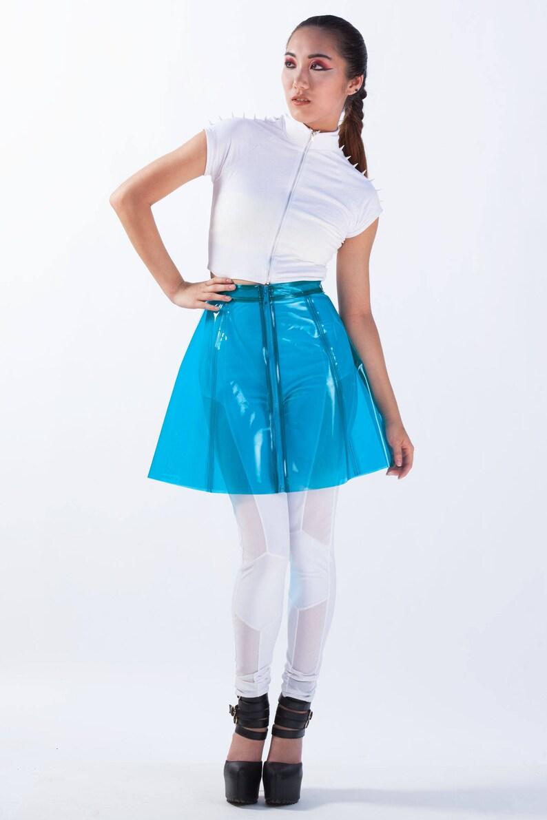 fb71b8534f95c1 GAMMA RAY SKIRT A-line Mini Clear Neon Blue Plastic | Etsy