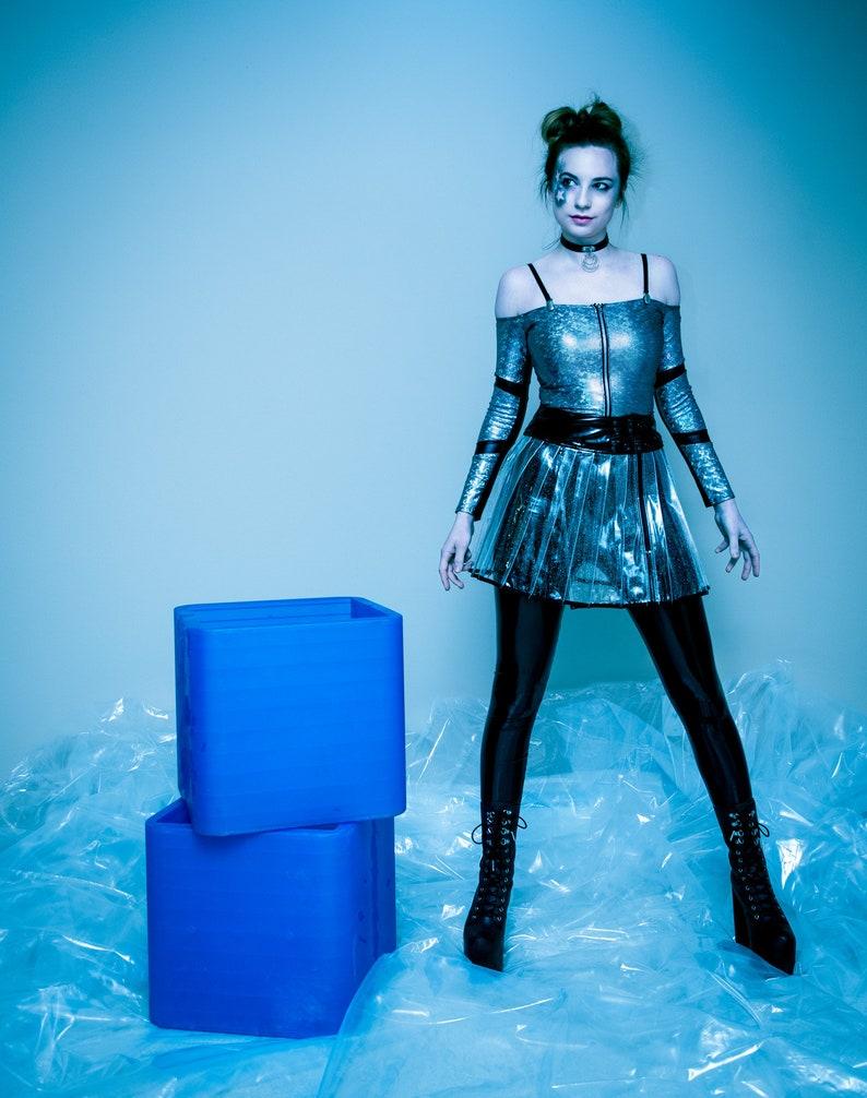 9effd8481e3349 SUPERSONIC SKIRT Mini Skirt Clear Glitter Black Plastic PVC | Etsy