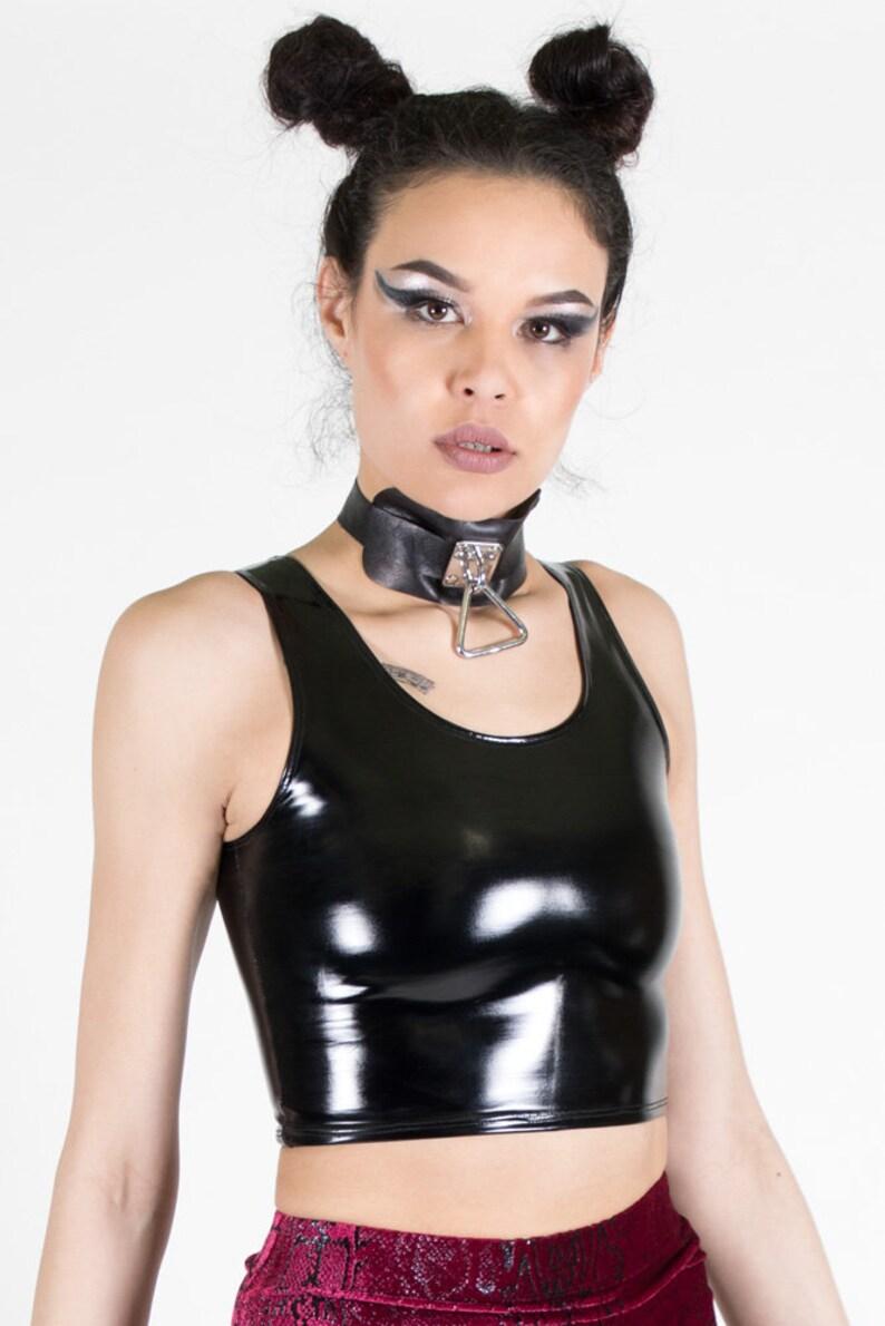 FASHION CROP TANK Black Gold Top Futuristic Shiny Vinyl Cyber Shirt Rave Industrial edm Cybergoth Goth Dance Costume Spikes Space