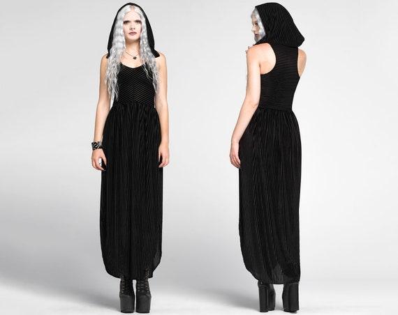 Premonition Maxi Dress Hood Sheer Black Velvet Maxi Goth Etsy