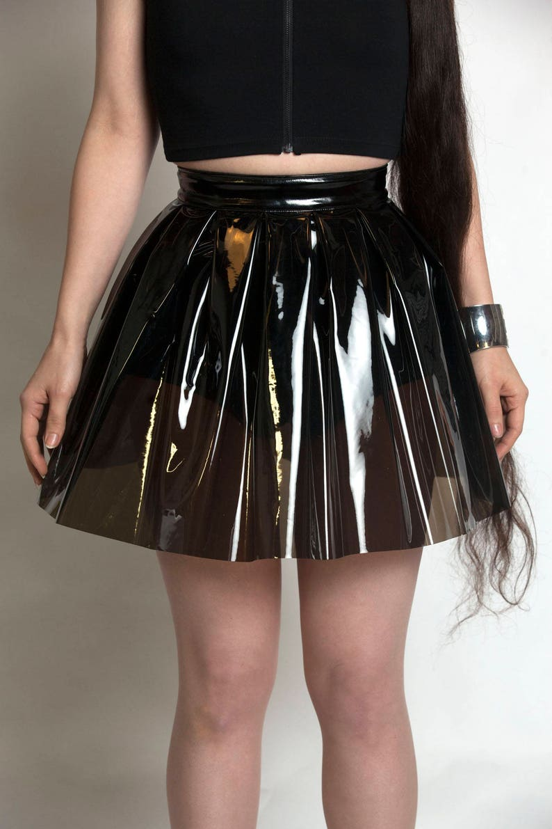 9b568c6c16bfe3 LOUD and CLEAR Black Plastic Mini Skirt PVC Pleated Vinyl | Etsy