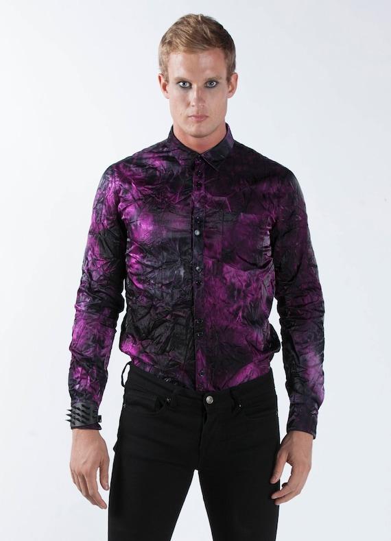 SALE Men's Purple Dress Shirt Button Up Black Crinkle Satin Tie Dye Pirate Steampunk Victorian Goth Gentleman Costume Vampire Circus Goth