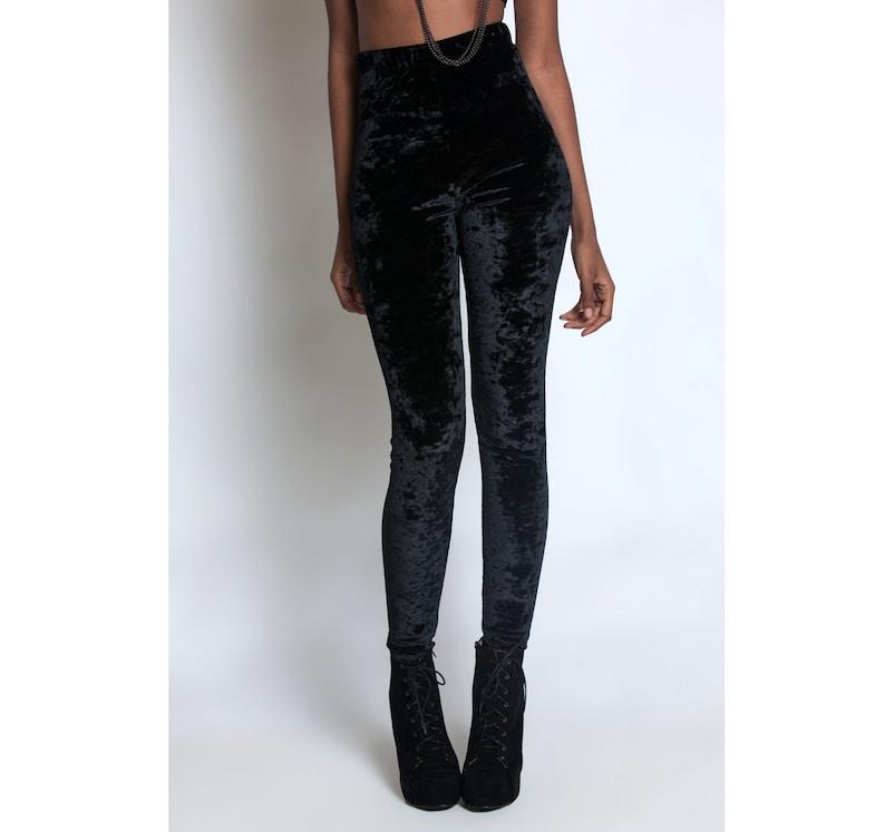 57cf339b77baba OBSIDIAN LEGGINGS Black Crushed Velvet Victorian Nu Goth | Etsy