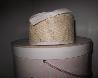 Vintage Hair Band Hat in Tan Wicker with an Ivory Bow