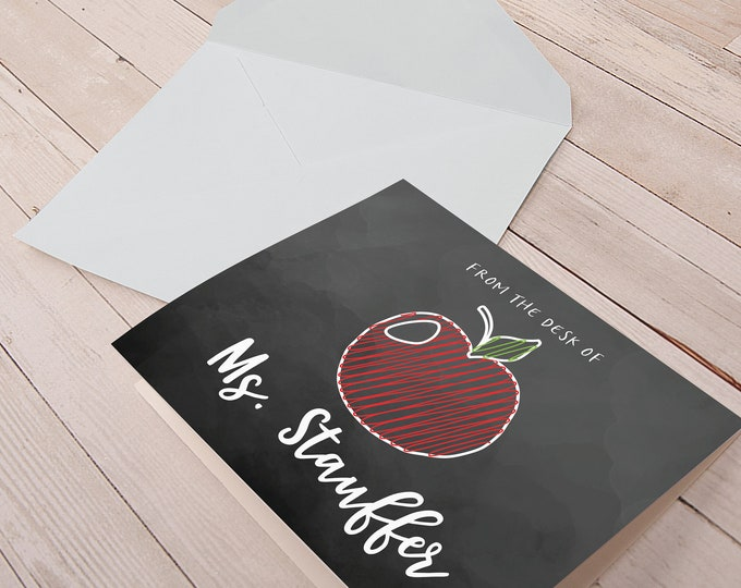 Personalized Folded Note Cards with Envelopes | Blank Note Card Set | Thank You Note Cards | Teachers | From The Desk of