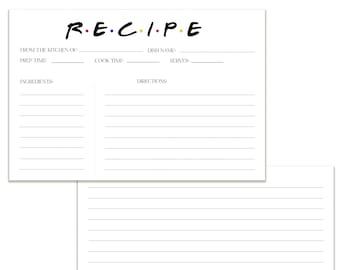 Friends Inspired | Recipe Cards