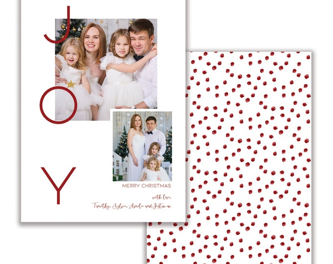 Joy, Personalized Photo Christmas Card, Merry Christmas, Happy Holidays, Digital Download or Printed Options