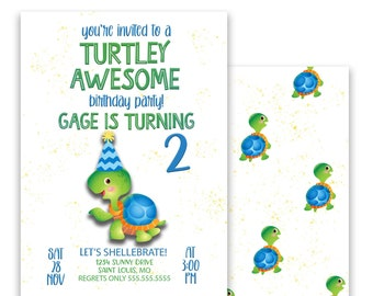 Turtle Birthday Party Invitation, Let's Shellebrate