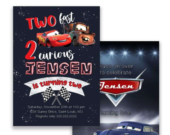 Cars Invitation, Two Fast, Birthday Party Invitation