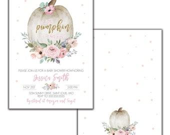 Little Pumpkin Baby Shower Invitation Download, Girl Fall Baby Shower invite, Watercolor baby, Pumpkin Baby Shower