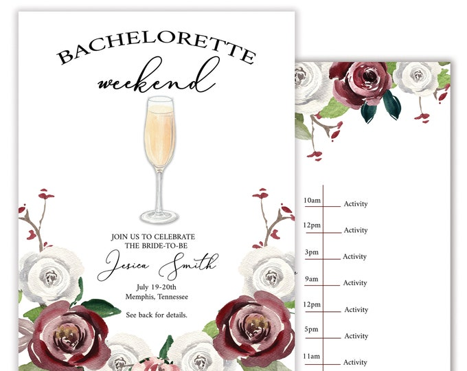 Floral Watercolor | Burgundy & White Flowers | Bachelorette Party Itinerary | Personalized