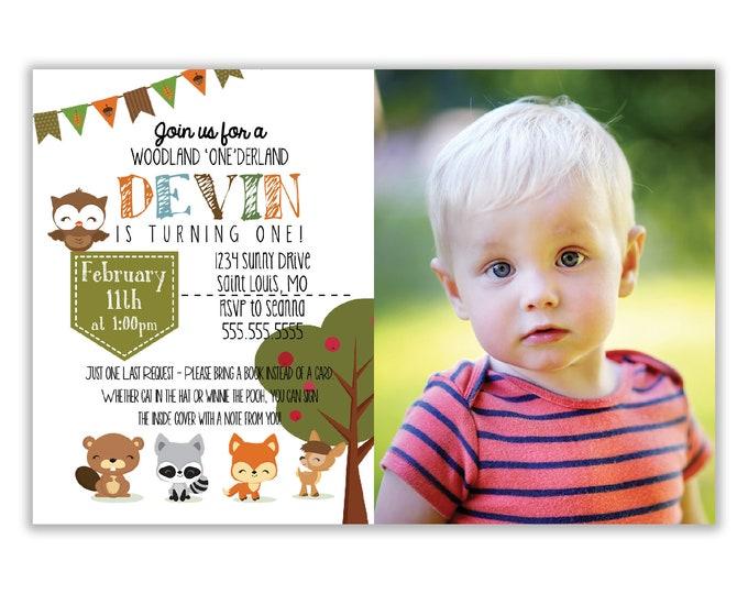 Customized - Birthday Invitation - First Birthday, Woodland Creatures,  Animals, Toddler, Personalized