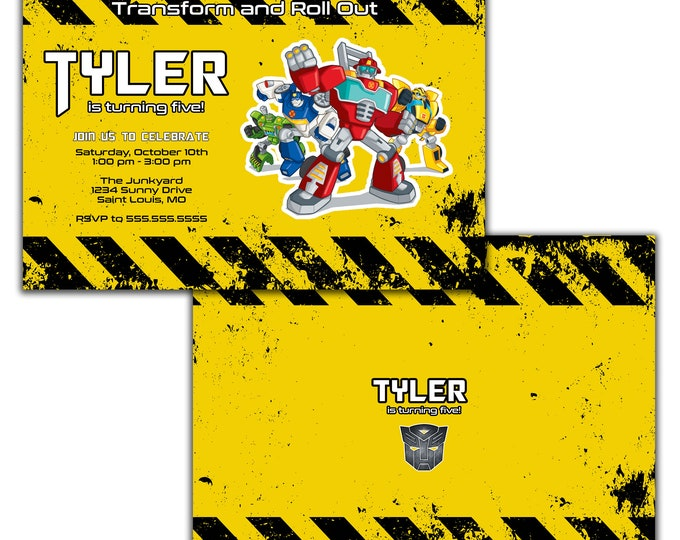 Rescue Bots Birthday Party Invitation, Chase, Heat Wave, Bumblebee Bee, Blades, Boulder and Optimus Prime, Digital or Printed Option