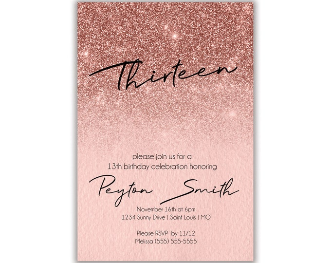 Rose Gold Birthday Party Invitation, Personalized, Envelopes Included with Printed Option, Printed or Digital DIY Invitation Cards