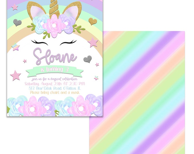 Magical Day, Unicorn Birthday Party Invitation, Personalized, Envelopes included with Printed option