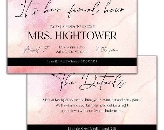 Bachelorette Party Invitations | Bachelorette Weekend | Lingerie Shower | Itinerary