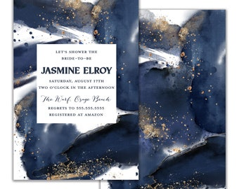 Wedding Shower Invitation, Bridal Shower Inviation, Navy Watercolor and Gold Accent Elegant