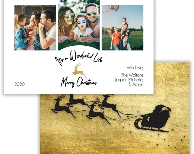 It's a Wonderful Life, Personalized Photo Christmas Card, Merry Christmas, Happy Holidays