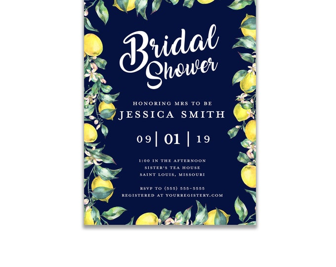 The Melange Market, Personalized Bridal Shower Invitations, Watercolor Lemon Wreath and Navy Background Digital or Printed Option