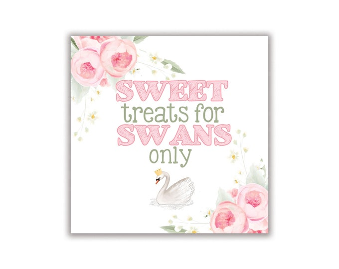 """Sweet Swan, Sweet Treats for Swans, 8"""" x 8"""" Sign, Digital or Printed Options"""