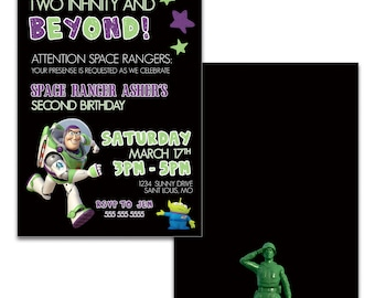Toy Story Invitation Two Infinity and Beyond Birthday Party Invite; Digital