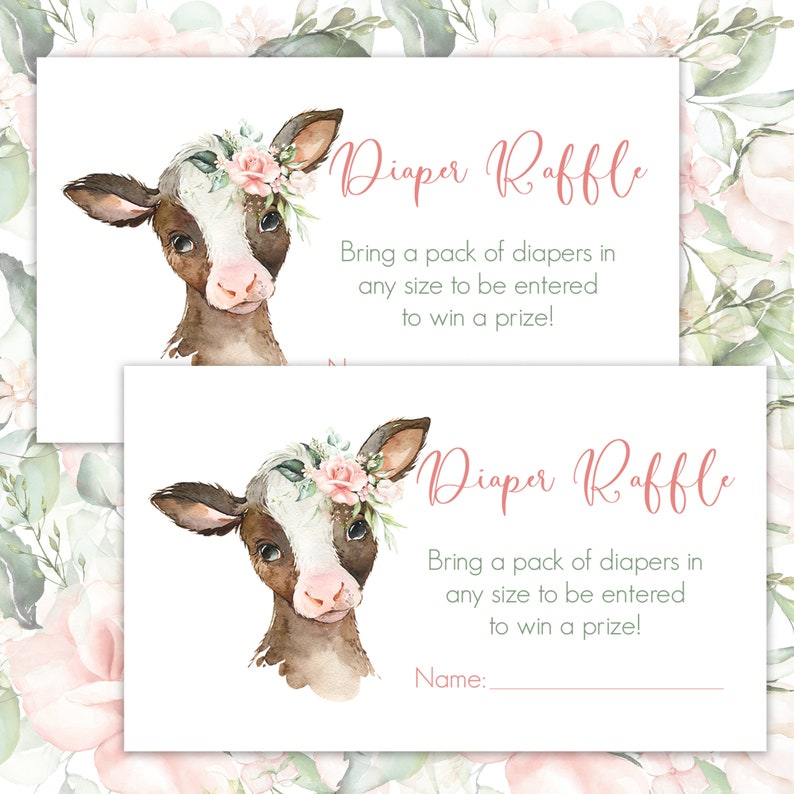 Diaper Raffle Ticket Floral Farm Cow Baby Shower Game Card image 1