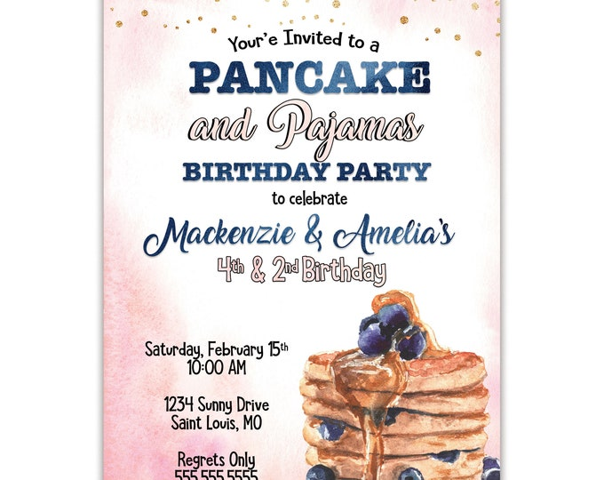 Pancakes and Pajamas | Birthday Party Invitation | Personalized | Envelopes Included with Printed Option