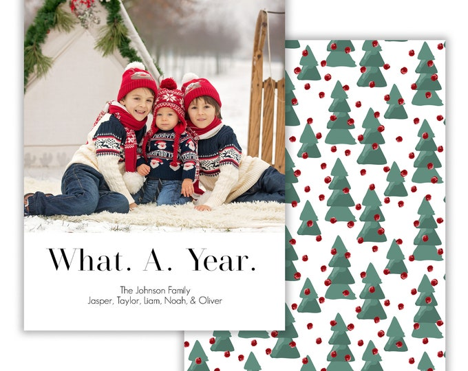 What a Year, Personalized Photo Christmas Card, Merry Christmas, Happy Holidays, Digital Download or Printed Options