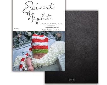 Photo Christmas Card, Silent Night, Personalized Christmas Card, Merry Christmas, Happy Holidays