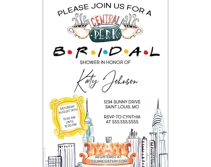 Friends Inspired | Bridal Shower Invitation | Personalized