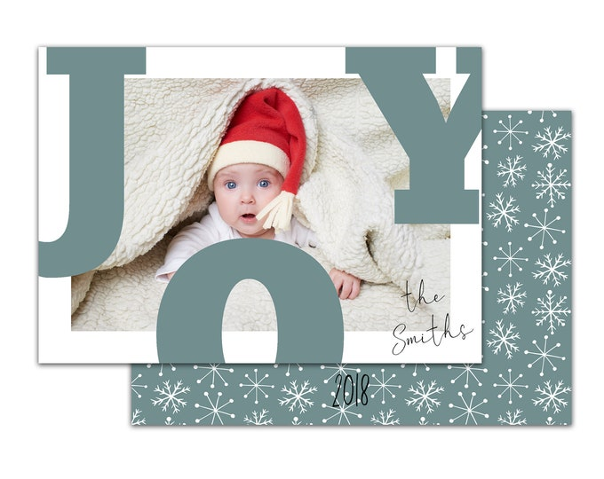 Joy, Holiday Card with Photo, Personalized