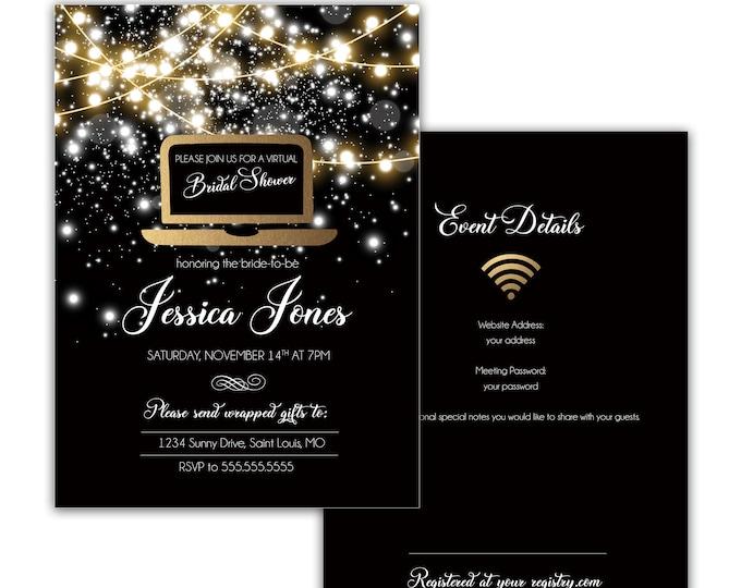 Virtual Bridal Shower Invitation, Online Bridal Shower Invitation, Printable or Digital