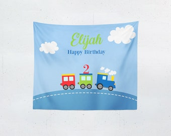 Train | Child's Birthday | Photo Booth Backdrop | Personalized Party Decorations
