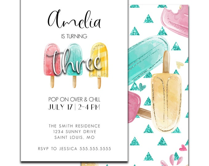 Popsicle Birthday Invitation Let's Chill Invite Summer Party