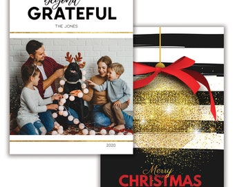 Beyond Grateful, Personalized Photo Christmas Card, Merry Christmas, Happy Holidays, Digital Download