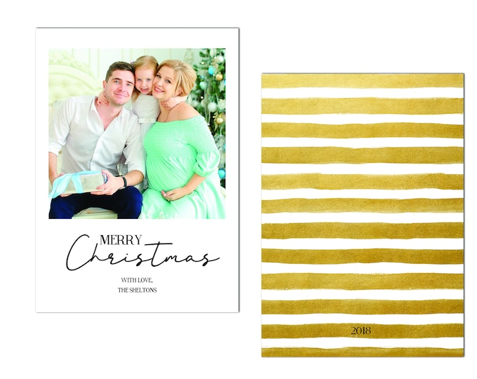 Merry Christmas, Holiday Card with Photo, Personalized