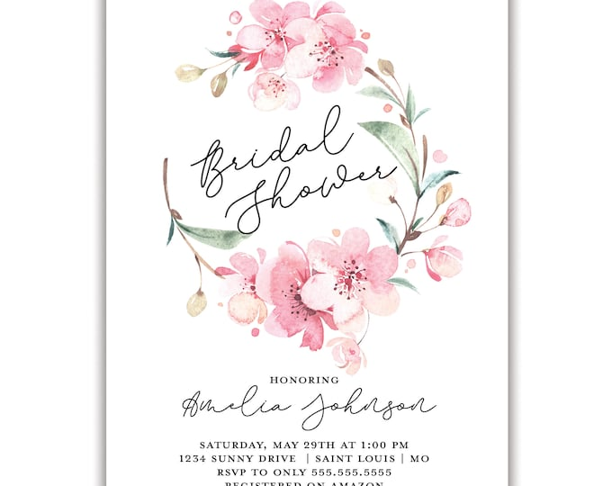 Cherry Blossom | Bridal Shower Invitation | Personalized | Envelopes Included with Printed Option