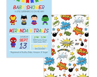 Personalized Baby Shower Invitations, Our LIttle Super Hero Is on The Way