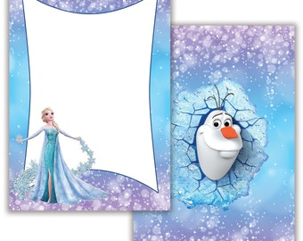 Frozen Inspired | Note Cards | Stationary|  Envelopes Included