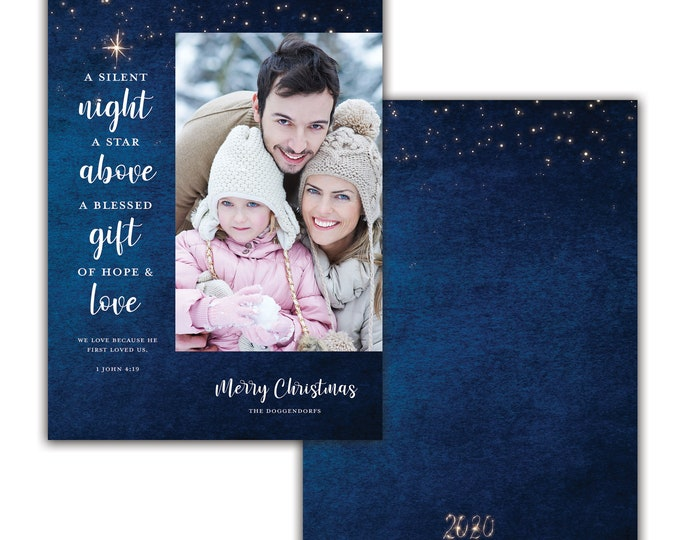 Photo Christmas Card, Silent Night, Personalized Christmas Card, Merry Christmas, Happy Holidays, Digital Download
