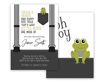 Personalized Baby Boy Shower Invitations, Frogs, Snails, & Puppy Dog Tails, Envelopes Included with Printed Option