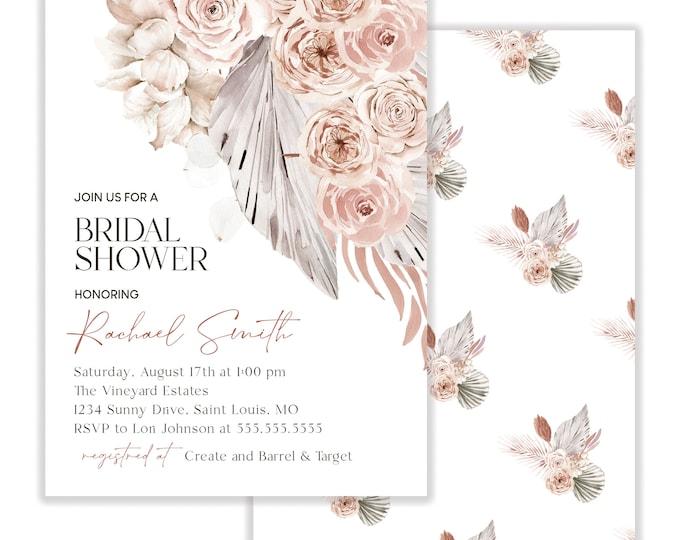 Bridal Shower Invitation, Pampas Grass Invitation, Boho Bridal Shower Invite