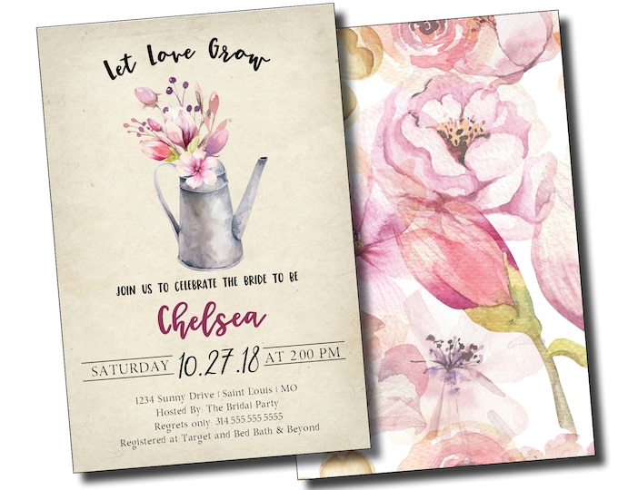 Let Love Grow, Bridal Shower Invitation, Personalized, Digital Options