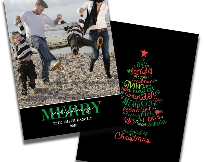 Merry Christmas   Christmas Card with Photo   Personalized