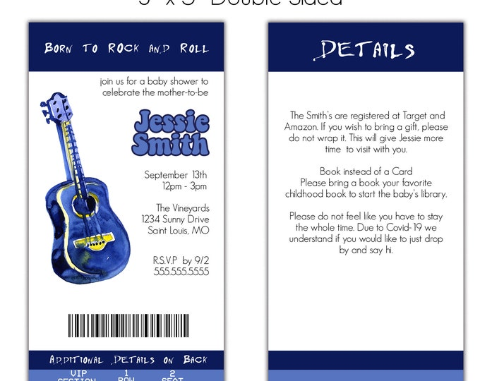 Rock a Bye Baby | Baby Shower Invitation | Personalized | Envelopes Included with Printed Option
