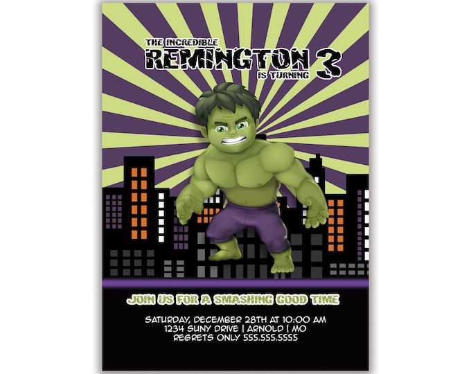 Incredible Hulk, Birthday Party Invitation, Envelopes Included with Printed Option